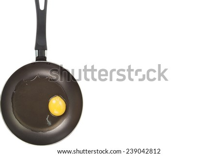 not roasted egg in a frying pan - stock photo