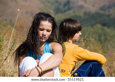 Not talking each other - stock photo