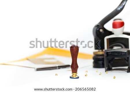 Notary public embosser, stamp, stapler. Selective focus. - stock photo