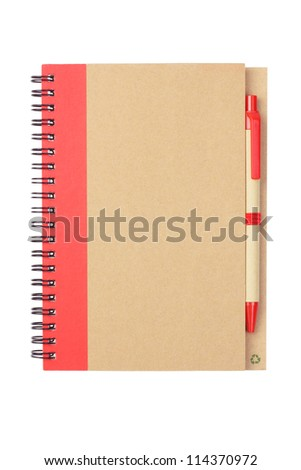 Note book and Pen Made From Recycled Materials on White Background - stock photo
