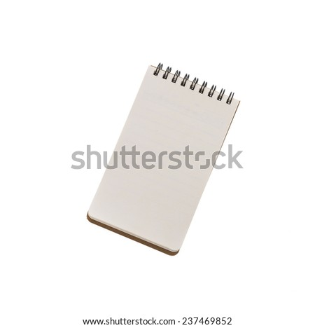 Note book paper isolated on white background - stock photo