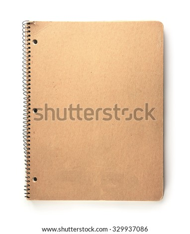 Note book with brown paper cover, in real life used condition. Isolated on  white background. - stock photo