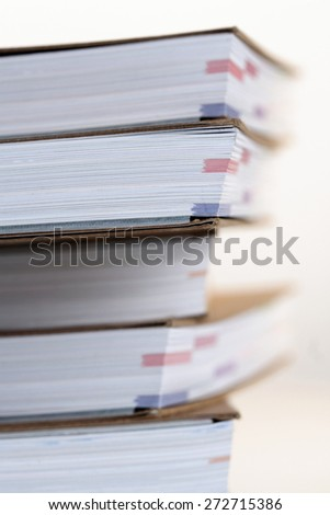 Note books in stack - close-up - stock photo