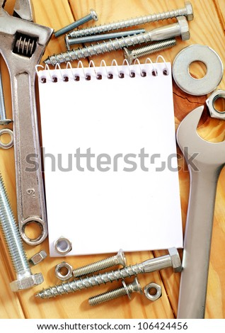 Note, nuts and bolts - stock photo