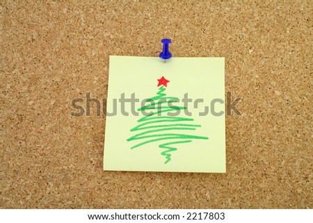Note on a corkboard addressed to Santa Claus - stock photo