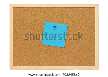 Note on a pin board - isolated on white background - stock photo