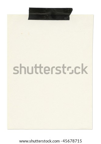 Note or memo taped on top. Isolated on white. Clipping path included.