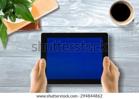 Note Pad, Human Hand, Digital Tablet. - stock photo