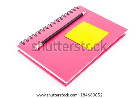 Note pad on notebook and pencil on isolated white background - stock photo