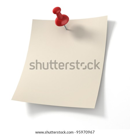 note pad pinned on white background - stock photo