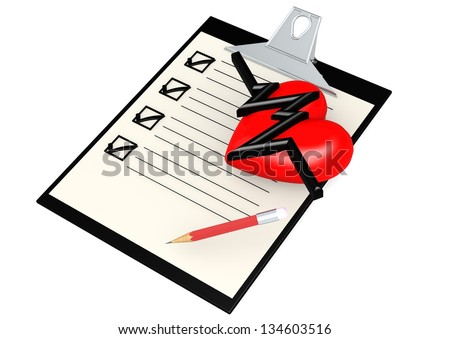 Note pad with heart - stock photo