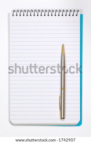 Note Pad With White Pages and Pen. Isolated on White - stock photo