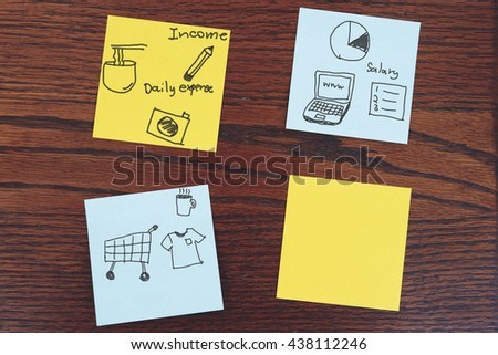 note paper and hand writing of business note on vintage wood wall - stock photo