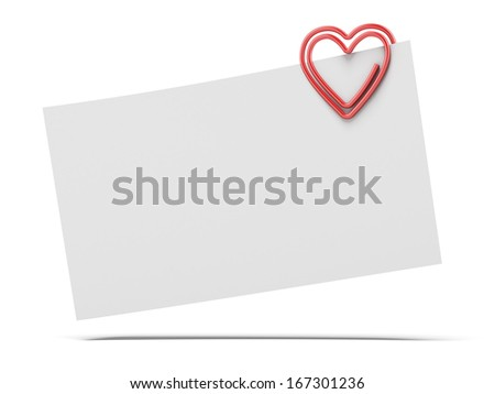 note paper and heart paper-clip - stock photo