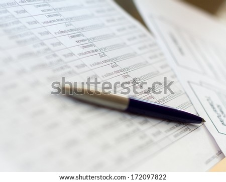 note paper and pen - stock photo