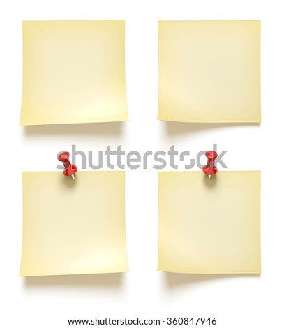 Note paper collection isolated on white.