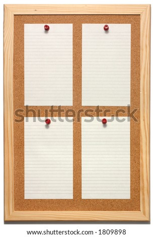 Note paper on a cork board with a white background. - stock photo