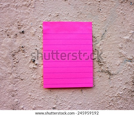 Note paper on wall, note paper with line on wall background  - stock photo
