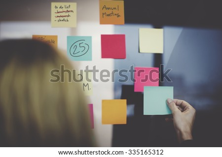 Note Paper Reminder Schedule Board Concept - stock photo