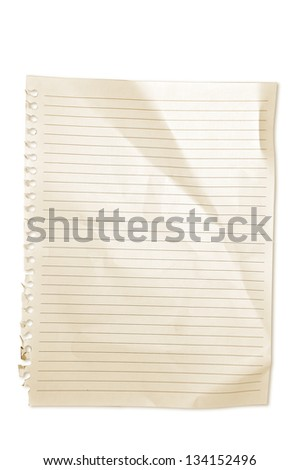 Note Paper sepia color die cut with clipping path