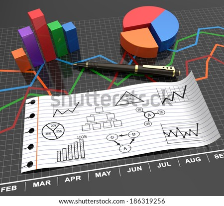Note paper with business charts as concept - stock photo