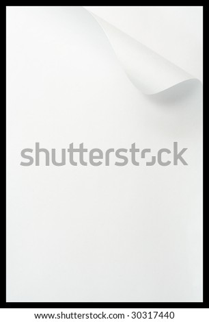 Note paper with curled edge. - stock photo