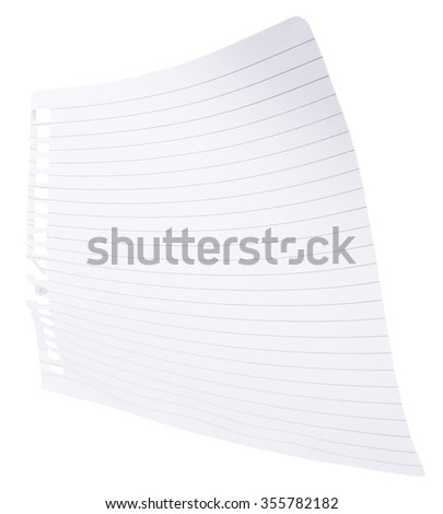 Note paper with curls on isolated white background