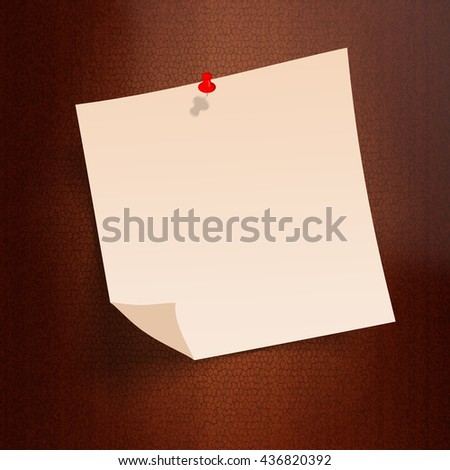 Note paper with pin on old paper background bord. ready for your customized text or images. Yellow stick note.