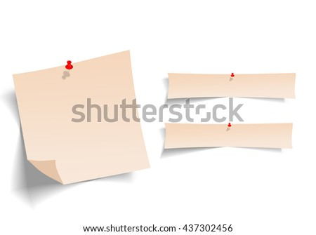 Note paper with pin on white background bord. ready for your customized text or images. Yellow stick note. - stock photo