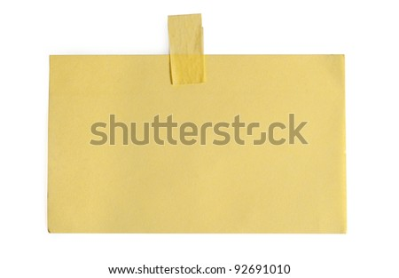 note paper with tape on white background