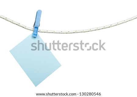 Note papers hooked on a rope. White isolated studio shot - stock photo