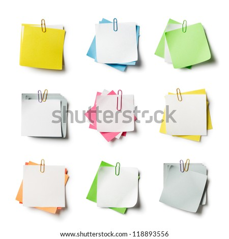 Note papers with paperclip, collection on white background - stock photo