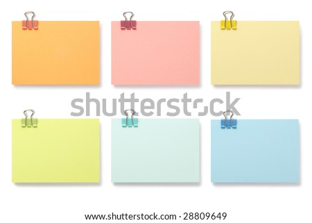 Note with paperclip on white background with clipping path - stock photo