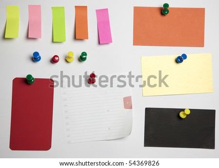 Note with Tack and push pins  with clipping path office crushed paper different colors - stock photo