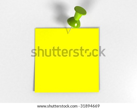 Note with Tack (3D rendering) - stock photo