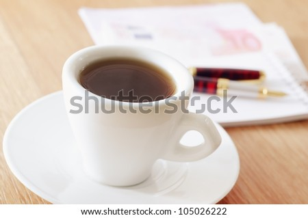 note with the coffee - stock photo