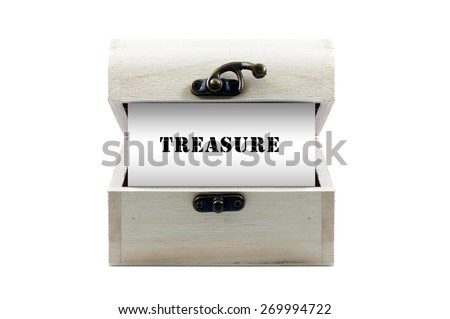 "Note with word ""TREASURE"" in wooden chest isolated on white background - stock photo"