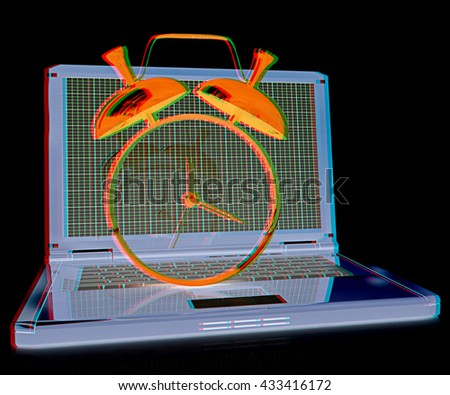 Notebook and clock on a black background. 3D illustration. Anaglyph. View with red/cyan glasses to see in 3D. - stock photo