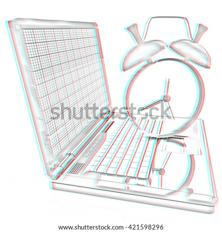 Notebook and clock on a white background. Pencil drawing. 3D illustration. Anaglyph. View with red/cyan glasses to see in 3D. - stock photo