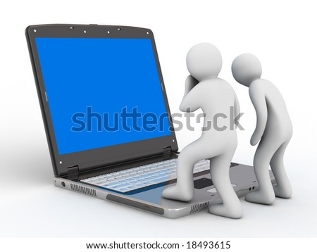 notebook and group of the people on white background
