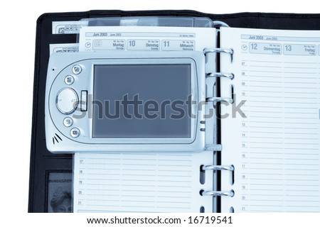 notebook and pda - stock photo