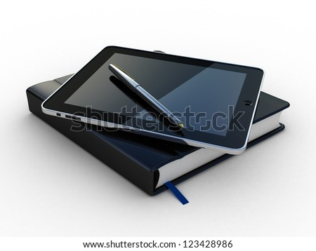 Notebook and pen and tablet on white background - stock photo