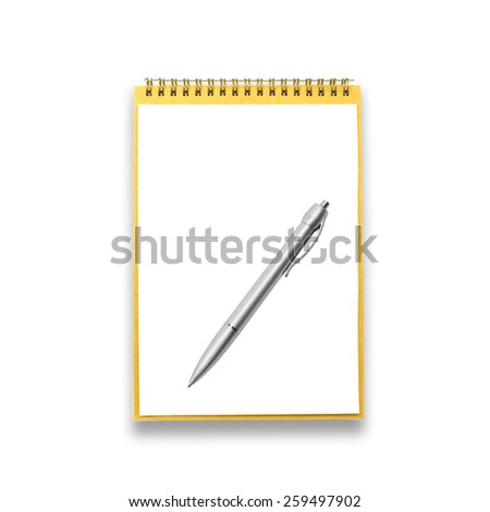 notebook and pen over a white background - stock photo
