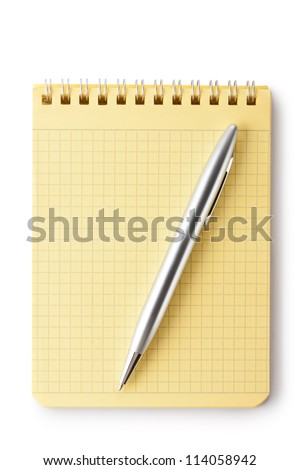Notebook and pen. Top view. Isolated on a white. - stock photo