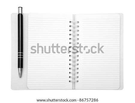 Notebook and pen with clipping path - stock photo