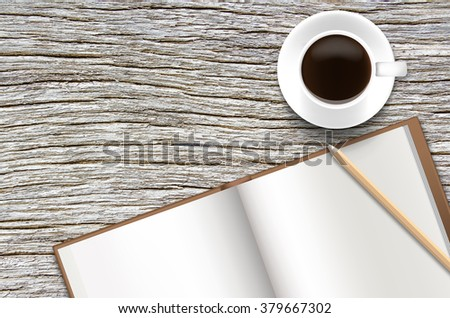 Notebook and pencil with coffee on old wooden desk.