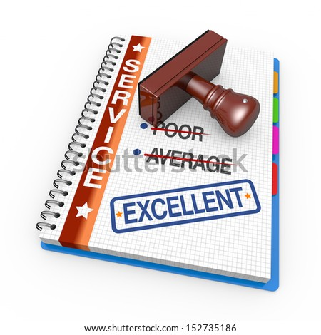 Notebook and rubber stamp with the word excellent - stock photo