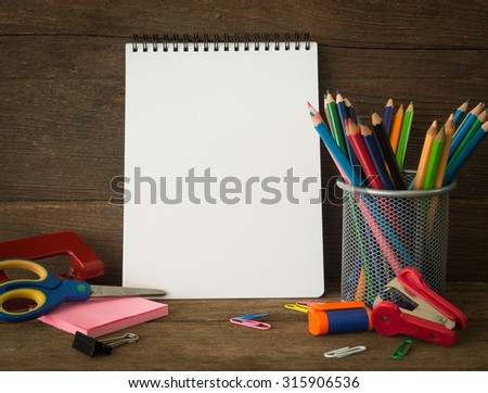 notebook and stationery put on desk free space for text . educations concept, back to school concept. - stock photo