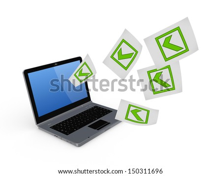 Notebook and symbol of tick mark.Isolated on white.3d rendered. - stock photo