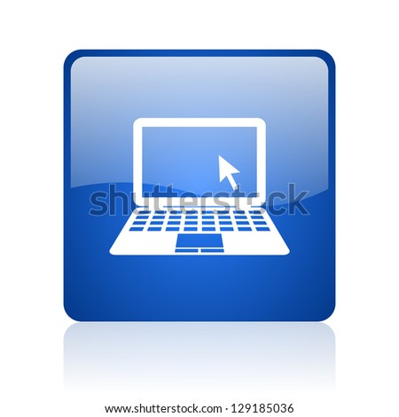 notebook blue square glossy web icon on white background - stock photo